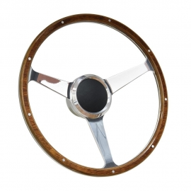 "17"" Classic Wood Boat Steering wheel with 3/4"" Tapper Key Way Adapter"