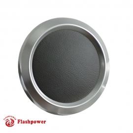 Billet Aluminum Steering Wheel Horn Button White Leather Satin