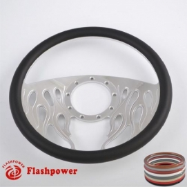 """Flames 14"""" Polished Billet Steering Wheel with Full Wrap"""