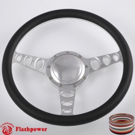 "Cruisin 15.5"" Polished Billet Steering Wheel with Half Wrap and Horn Button"