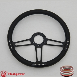 "Trinity VI 14"" Black Billet Steering Wheel with Half Wrap Rim"