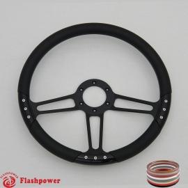 "Trinity VI 14"" Black Billet Steering Wheel with Half Wrap Rim"