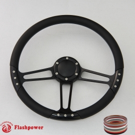 """Trinity VI 14"""" Black Billet Steering Wheel with Full Wrap and Horn Button"""