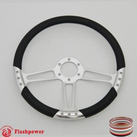 """Trinity VI 14"""" Polished Billet Steering Wheel with Full Wrap"""