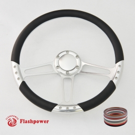 """Trinity VI 14"""" Polished Billet Steering Wheel with Full Wrap and Horn Button"""
