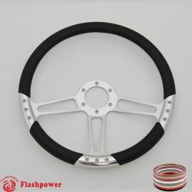 "Trinity VI 14"" Satin Billet Steering Wheel with Full Wrap"