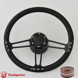 """Trinity VI 14"""" Black Billet Steering Wheel Kit Full Wrap with Horn Button and Adapter"""