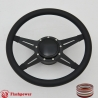 "Racer 14"" Black Billet Steering Wheel Kit Full Wrap with Horn Button and Adapter"