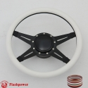"""Racer 14"""" Black Billet Steering Wheel Kit Half Wrap with Horn Button and Adapter"""