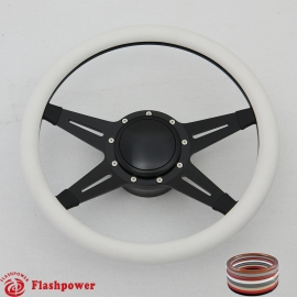 "Racer 14"" Black Billet Steering Wheel Kit Half Wrap with Horn Button and Adapter"