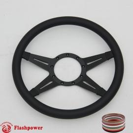 "Racer 14"" Black Billet Steering Wheel with Full Wrap"