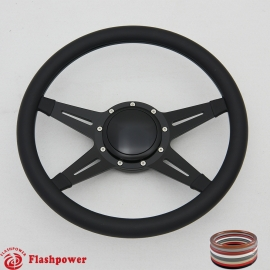 "Racer 14"" Black Billet Steering Wheel with Half Wrap and Horn Button"