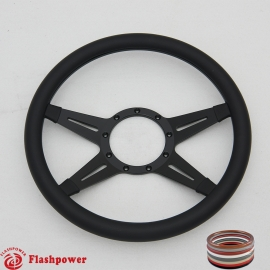 "Racer 14"" Black Billet Steering Wheel with Half Wrap Rim"