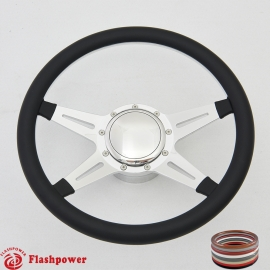 """Racer 14"""" Polished Billet Steering Wheel Kit Full Wrap with Horn Button and Adapter"""