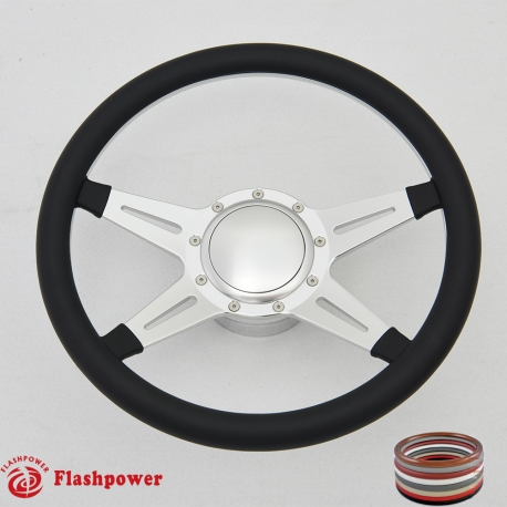 """Racer 14"""" Satin Billet Steering Wheel Kit Full Wrap with Horn Button and Adapter"""
