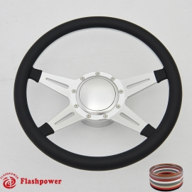 "Racer 14"" Satin Billet Steering Wheel Kit Half Wrap with Horn Button and Adapter"