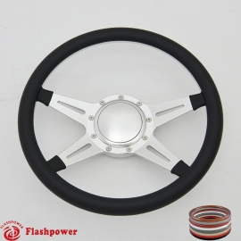 "Racer 14"" Satin Billet Steering Wheel with Half Wrap and Horn Button"