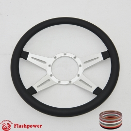 "Racer 14"" Satin Billet Steering Wheel with Half Wrap Rim"