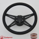 """Racer VI 14"""" Black Billet Steering Wheel Kit Full Wrap with Horn Button and Adapter"""