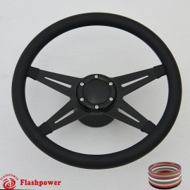 "Racer VI 14"" Black Billet Steering Wheel Kit Full Wrap with Horn Button and Adapter"