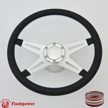 """Racer VI 14"""" Polished Billet Steering Wheel Kit Full Wrap with Horn Button and Adapter"""