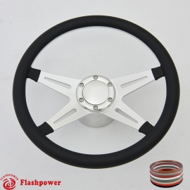 "Racer VI 14"" Polished Billet Steering Wheel Kit Half Wrap with Horn Button and Adapter"
