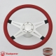 """Racer VI 14"""" Polished Billet Steering Wheel Kit Half Wrap with Horn Button and Adapter"""
