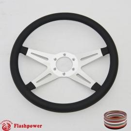 """Racer VI 14"""" Polished Billet Steering Wheel with Half Wrap Rim"""