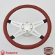 """Racer VI 14"""" Satin Billet Steering Wheel Kit Half Wrap with Horn Button and Adapter"""