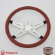 """Racer VI 14"""" Satin Billet Steering Wheel with Half Wrap and Horn Button"""