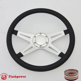 "Racer VI 14"" Satin Billet Steering Wheel with Half Wrap and Horn Button"