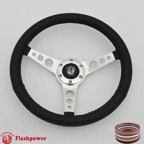 "14"" Classic Wrapped Polished Steering Wheel 6 bolt with Horn Button"