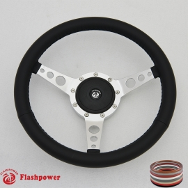 "14"" Classic Wrapped Steering Wheel 9 bolt Polished with Plastic Horn Button"