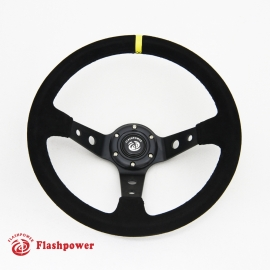 350mm Suede Alloy Steering Wheel Clear