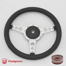 "15"" Classic Wrapped Polished Steering Wheel 9 bolt Flat with Horn Button"