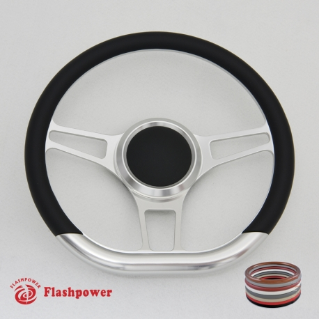"14"" D Type Billet steering wheel Half Wrap with horn button"
