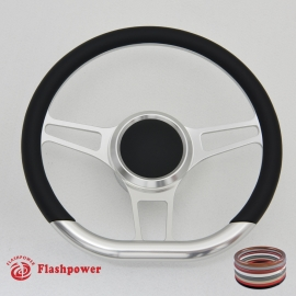 "Trinity VI 14"" Satin Billet Steering Wheel Kit Half Wrap with Horn Button and Adapter"