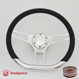 """14"""" Leather Boat Steering Wheel w/ 3/4"""" KeyWay Adapter Boss"""