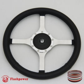 "15"" Classic Wrapped Polished Steering Wheel 9 bolt Flat with Plastic Horn Button"
