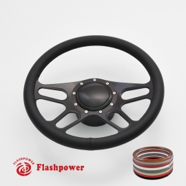 "15.5"" Black Billet Steering Wheel Kit Full Wrap with Horn Button and Adapter"