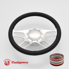 "15.5"" Satin Billet Steering Wheel Kit Full Wrap with Horn Button and Adapter"