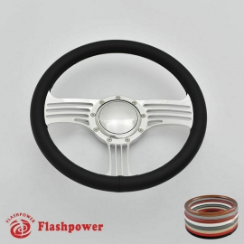 """15.5"""" Polished Billet Steering Wheel with Full Wrap and Horn Button"""