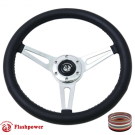 "15"" Classic Wrapped Steering Wheel 6 bolt Polished with Horn Button"