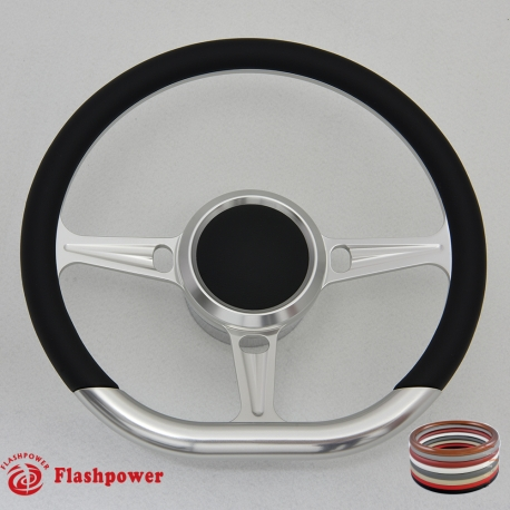 """14"""" Tanson D Billet steering wheel kit w/horn button and adapter"""