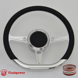 "14"" Leather Boat Steering Wheel w/ 3/4"" KeyWay Adapter Boss"