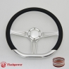"D-type 14"" Satin Billet Steering Wheel with Half Wrap and Horn Button"