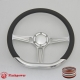 """D-type 14"""" Satin Billet Steering Wheel with Half Wrap and Horn Button"""