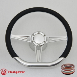 """Tanson VI D-type 14"""" Satin Billet Steering Wheel Kit Half Wrap with Horn Button and Adapter"""
