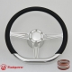 """Tanson VI D 14"""" Satin Billet Steering Wheel Kit Half Wrap with Horn Button and Adapter"""