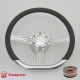 """D-type 14"""" Satin Billet Steering Wheel Kit Half Wrap with Horn Button and Adapter"""